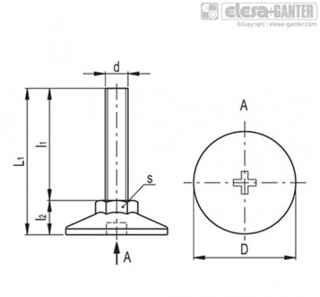 Опоры с неподвижной шпилькой LX-S – Чертеж 1
