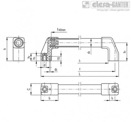 Трубчатые ручки M.1043-BM-AN – Чертеж 1