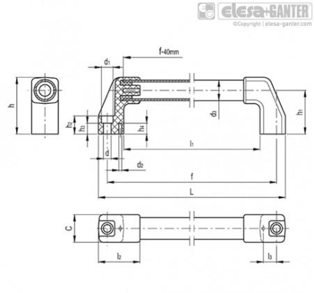 Трубчатые ручки M.1043-SST – Чертеж 1