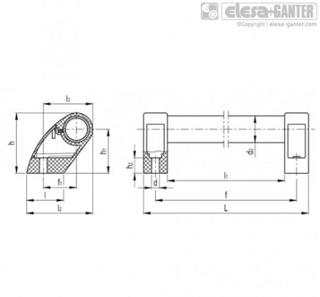 Выносные трубчатые ручки M.1053-AN-BK – Чертеж 1