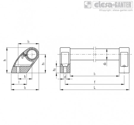 Выносные трубчатые ручки M.1053-AN-GR – Чертеж 1