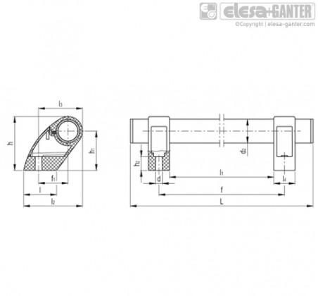 Выносные трубчатые ручки M.1053-P-EP – Чертеж 1