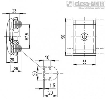 Зажимы направляющей MPG-2R – Чертеж 1