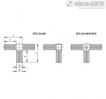 Соединители квадратных труб STC-3A-4W – Чертеж 1
