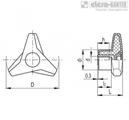 Трёхлепестковые ручки VB.839-SST – Чертеж 1
