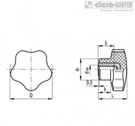 Лепестковые поворотные ручки VC.192-SST – Чертеж 1