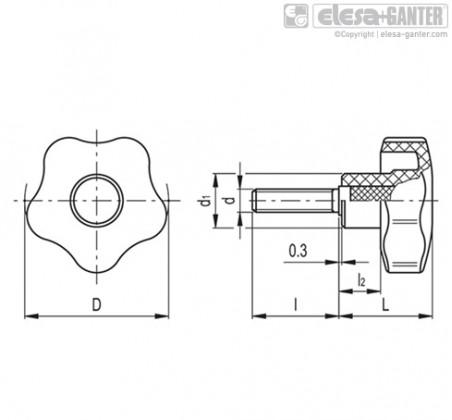 Лепестковые поворотные ручки VCT-SST-p – Чертеж 1