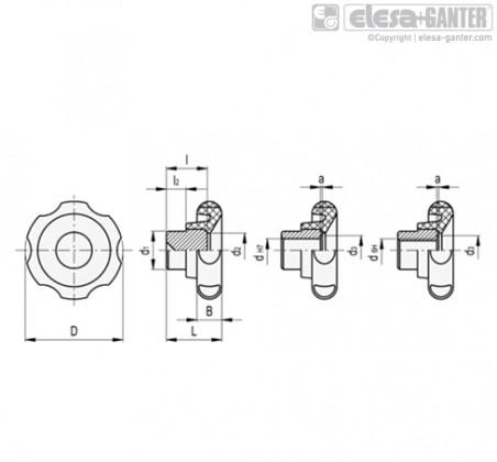 Лепестковые поворотные ручки VL.140 FP – Чертеж 1