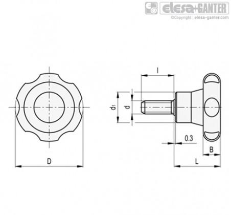 Лепестковые поворотные ручки VL.155-p – Чертеж 1