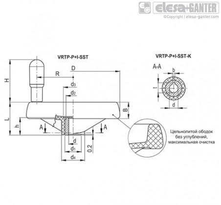 Маховики монолитные со спицами VRTP-P+I-SST – Чертеж 2